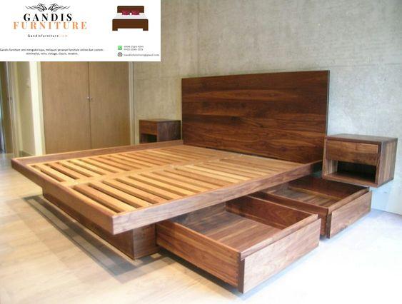 tempat tidur minimalis murah laci