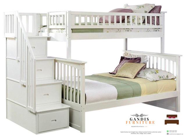 tempat tidur tingkat murah desain minimalis laci