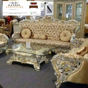 kursi tamu mewah kayu jati warna emas