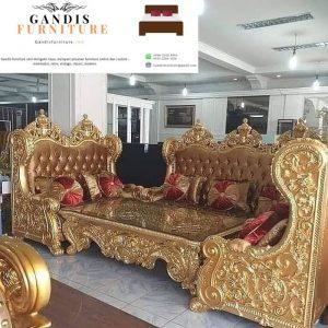 kursi tamu mewah kayu jati bellagio warna emas