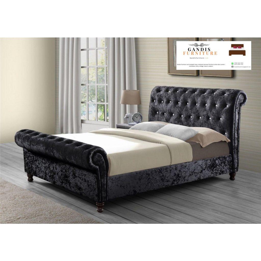 tempat tidur mewah modern kain blufru suede