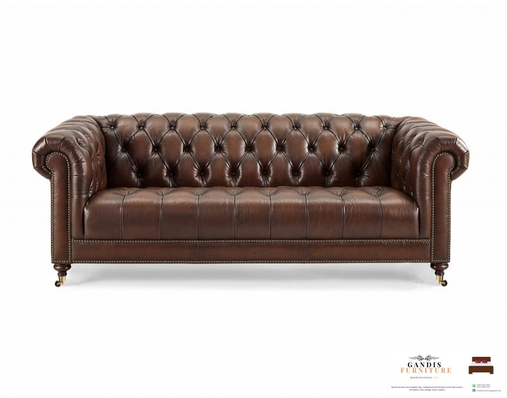 sofa chesterfield brown leather