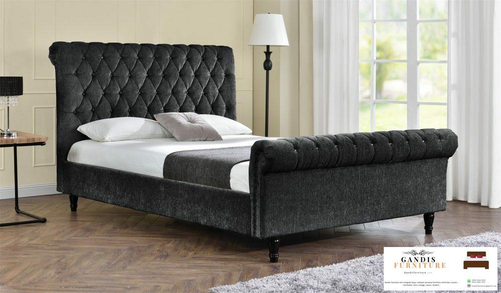 tempat tidur mewah modern kain