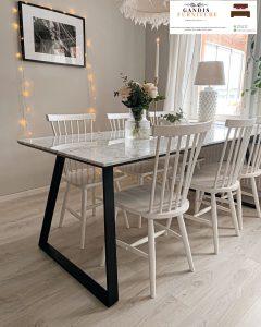 meja makan marmer putih elegan kaki besi murah