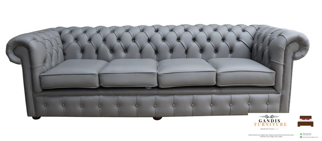 sofa tamu chestrfield warna abu abu polos