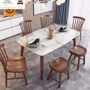 meja makan marmer modern white cararra