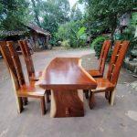 meja makan trembesi minimalis 5 kursi