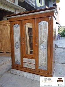 lemari pakaian 3 pintu modern kayu jati