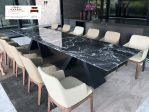 meja makan marmer hitam marquina alami utuh