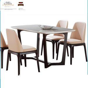 meja makan marmer minimalis rangka kayu jati