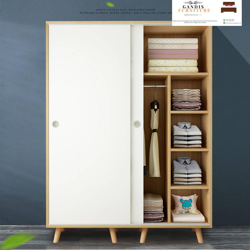 Lemari pakaian kayu sliding 2 pintu