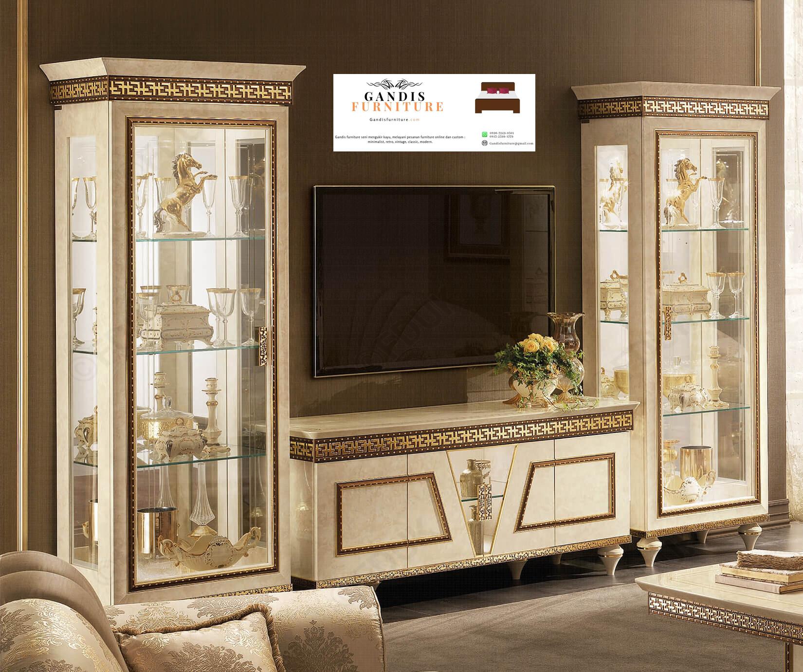 Model Meja Tv Mewah Model Lemari Kembar Terbaru 2020 Gandis Furniture Jepara