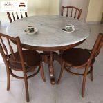 meja makan marmer bulat putih minimalis kursi 6