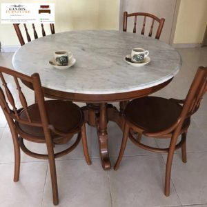 meja makan marmer bulat putih minimalis kursi 4
