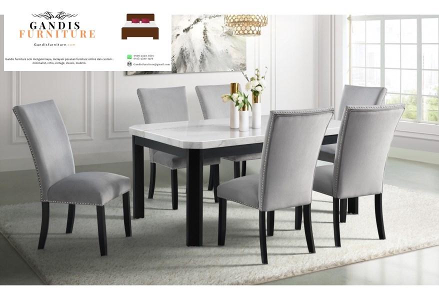 meja makan marmer modern