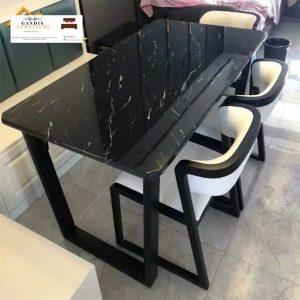 meja makan marmer hitam alami