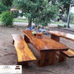 meja makan trembesi minimalis modern utuh solid