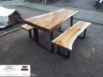 meja kayu trembesi kaki besi modern minimalis jepara