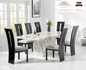 meja makan marmer mewah putih modern