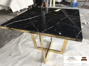 meja marmer persegi kaki stainless steel