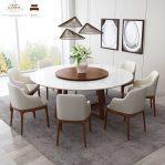 meja makan marmer bulat putih 8 kursi