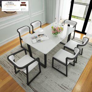 meja makan marmer mewah putih white cararra