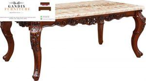 meja marmer mewah persegi rangka kayu