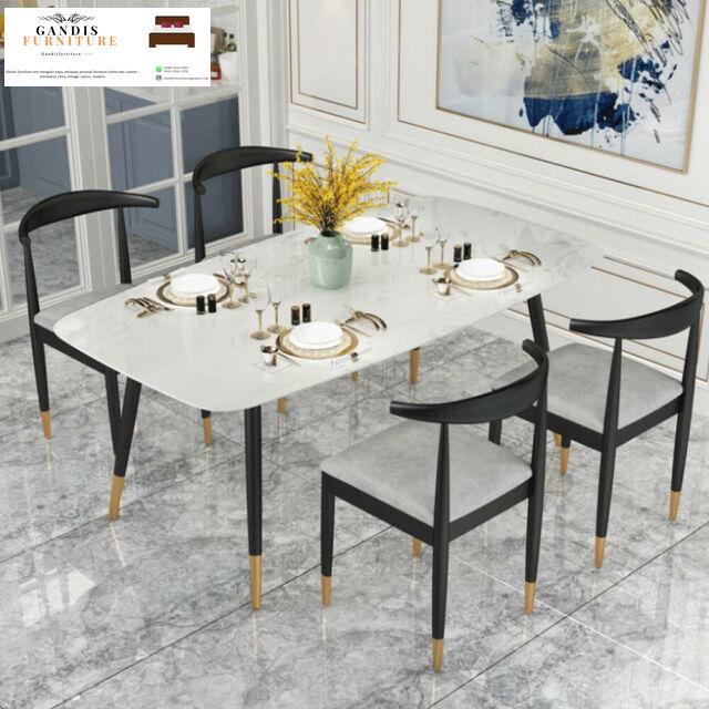meja makan marmer mewah 4 kursi