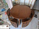 Meja makan bulat minimalis kayu jati 4 dan 6 kursi