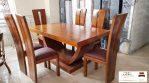 Set meja makan minimalis kayu jati jepara