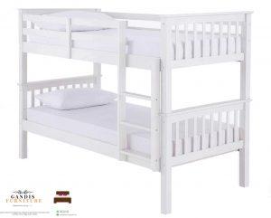 Tempat tidur tingkat kayu minimalis putih