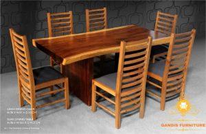 meja makan kayu trembesi 6 kursi