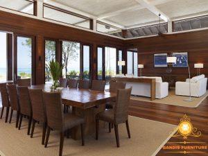 meja makan kayu trembesi modern minimalis jepara