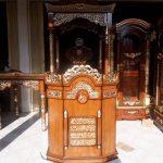 Mimbar masjid jepara kayu jati ukiran kaligrafi arab