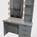 meja rias minimalis lampu putih kayu solid
