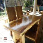 meja makan kayu trembesi utuh modern minimalis