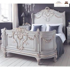 tempat tidur klasik mewah ukiran jepara putih duco
