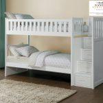 Tempat tidur tingkat kayu tangga laci duco putih