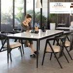 set meja makan marmer minimalis 4 kursi mewah
