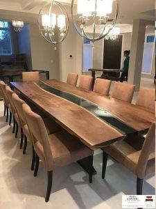 meja resin unik menyala kayu trembesi