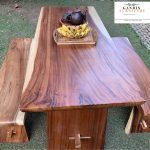 model meja makan kayu trembesi minimalis