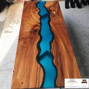 meja resin biru minimalis indah