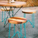kursi cafe besi minimalis kombinasi kayu