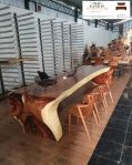 meja meeting kayu trembesi panjang