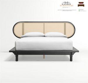 ranjang tidur rotan alami kombinasi kayu jati solid