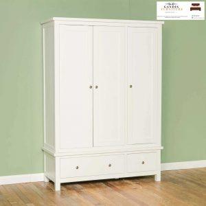 lemari pakaian 3 pintu minimalis duco putih kayu solid