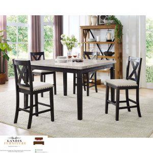 meja makan minimalis marmer kayu jati