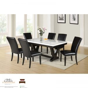 meja makan dari marmer kombinasi kayu jati