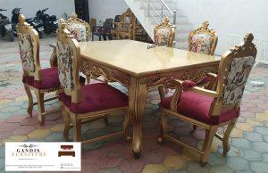 meja makan minimalis ukiran mewah kayu jati