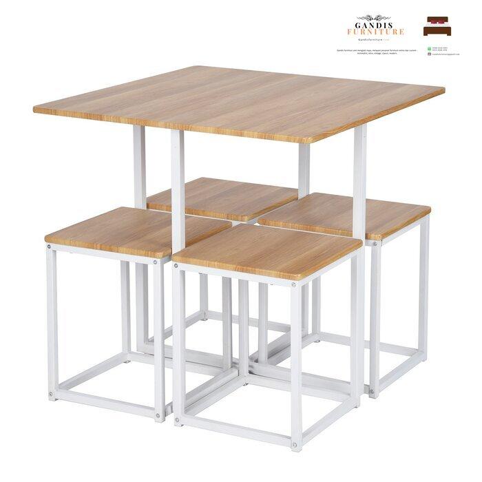 set kursi cafe besi minimalis kombinasi kayu solid